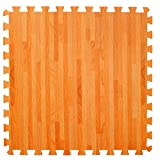 4 Large Wood Effect Interlocking Foam Mats with edges - Perfect for Floor Protection, Garage, Exercise, Yoga, Playroom. Eva foam (4 tiles, Natural Wood Brown - Each tile = 24 x 24ins)