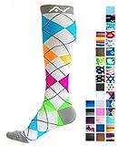 A-Swift Compression Socks for Women & Men - Argyle Bright, Medium