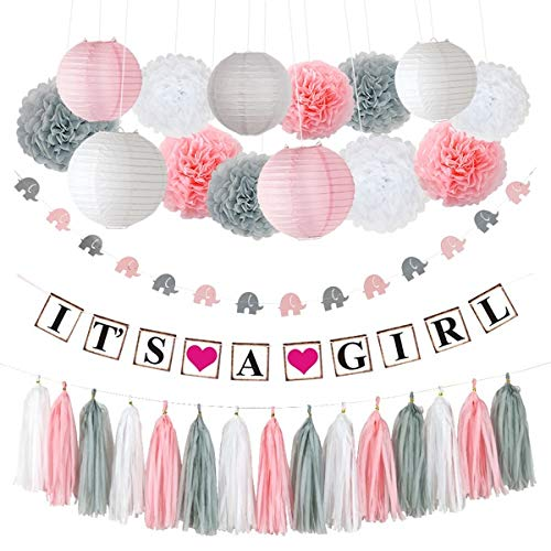 "Pococo Premium Baby Shower Decorations for Girl: Party Supplies 55 Pieces Pink, White, Gray Extra Large Kit Includes ""It's a Girl"" Banner, 9 Pom Poms, 5 Lanterns, Elephant Garland, 15 Tassels]()"