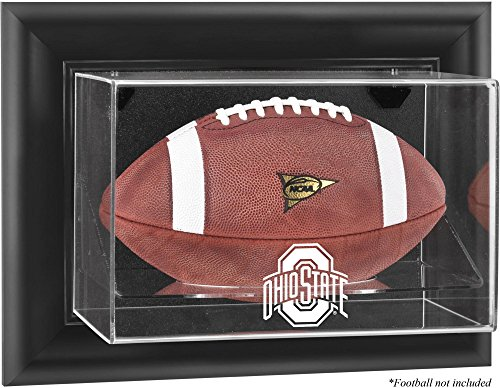Ohio State Buckeyes Black Framed Wall Mountable Football Display Case (Engraved Football Display Case)