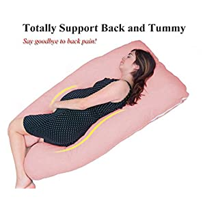 Meiz U Shaped Maternity Pillow - Pregnancy Pillow / Total Body Support for Side Sleeping - Zipper Removable Cover - Pink