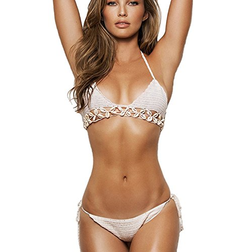 Itopfox Women's Knitted Swimsuit Crochet Bralette Shell Bikini Set White One Size