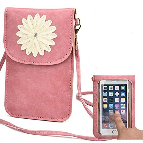 Cell Phone Bag,Yosorld Leather Cellphone Screen Touch Purse Crossbody Single Shoulder Bag with Display View Window Matte PU Leather Mini Crossbody Single Shoulder Bag Cellphone Pouch - (Pink) ()