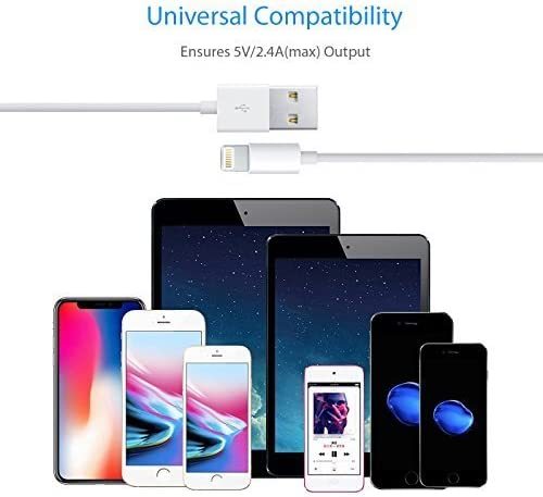 Lightning to USB Cable Compatible iPhone Xs//X//8//7//6s//6//6 plus//5s//5//SE,iPad Pro//Air//Mini,iPod Touch Original Certified Apple MFi Certified White 2M//6.6FT Apple Original Charger