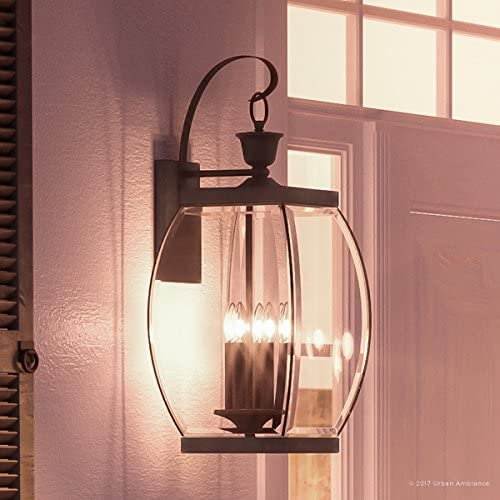 Luxury Colonial Outdoor Wall Light, Large Size 26 H x 11 W, with Transitional Style Elements, Bowed Design, Gorgeous Dark Medieval Bronze Finish and Beveled Glass, UQL1173 by Urban Ambiance