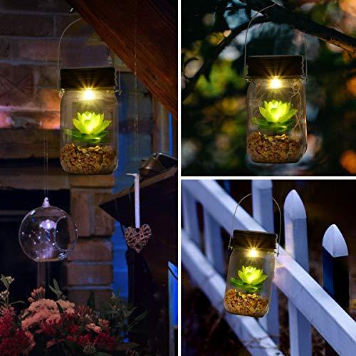 Solar Powered Lantern Mason Jar Solar Lights Artificial Succulent Hanging  Glass Terrarium DIY Kit Glass Planter Solar LED For Outdoor Garden | Night