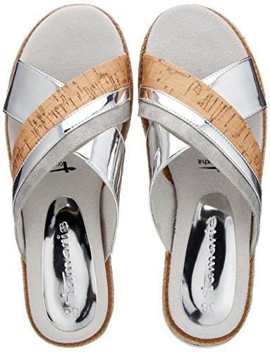 Tamaris Comb Damen 27228 Silver Silber Pantoletten Sp8SWwqxz