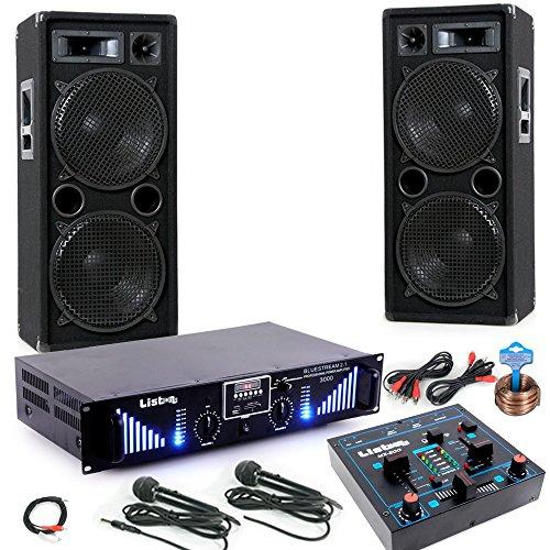 3000W PA Party Musik Anlage Boxen MP3 USB SD Endstufe Mixer 2x Mikro DJ-Blue 5