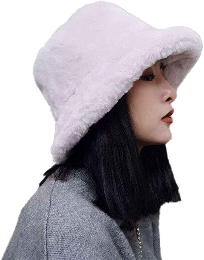 Tngan Winter Bucket Hat Women Men Warm Hats Vintage Faux Fur Fisherman Cap