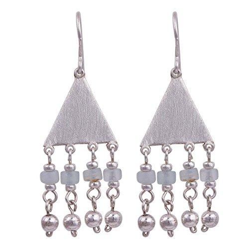 NOVICA Opal .925 Sterling Silver Dangle Earrings 'Triangle Rain'
