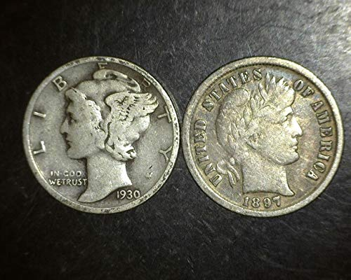 Set of 2 coins - Mercury and Barber Dimes - 90% Silver - Different Dates from 1892 to 1945 Dimes VG-08 and -