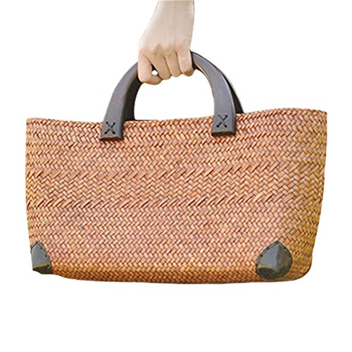 Bags Women Woven Grass Durable Tote Rattan Handbags Fashion Casual Bucket Beach Weave Meaeo Bag ROcp5q