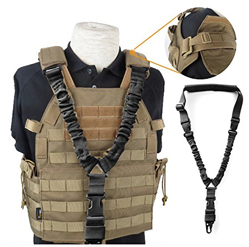 MF Adjustable Single Point Rifle Sling Tactical Bungee Airsoft AEG Gun Strap, 1 Point Gun Sling Multi-Use Rifle Strap Adjustable Shoulder Rope with Elastic Cord for Hunting Camping Outdoor Sports