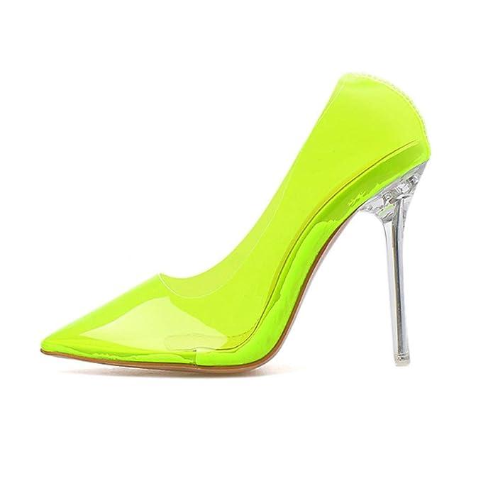 Zapatos transparentes de tacón fino de color amarillo neón
