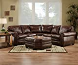 SIMMONS 9222D ENCORE BROWN LEATHER SECTIONAL SOFA OTTOMAN