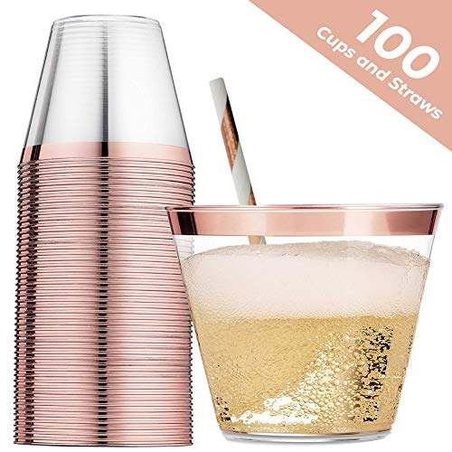 - 100 Rose Gold Rimmed Plastic Cups - 9 Ounce With 100 Pack Bonus Rose Gold Straws Disposable Wine Glasses Cocktail Cups Hard Plastic Cups for Wedding Party Decor Champagne Flutes Tumbler Disposable Cup