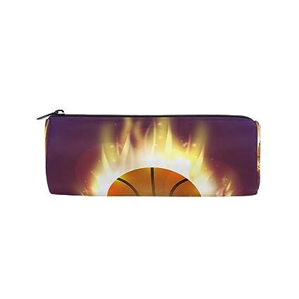 BONIPE - Estuche de baloncesto con llama de fuego, estuche escolar ...