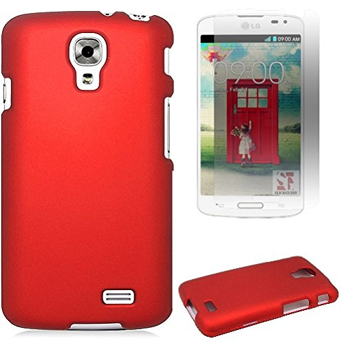 [SlickGears™] Premium Rubberized textured Snap On Clam Shell Protector Hard Case for LG Access LTE L31G L31L L30L/ LG F70 (AT&T, Straight Talk, Net10) + Premium LCD Screen Protector Combo (Red) (Combo Screen Premium Protector)