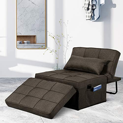 Saemoza Sofa Bed, 4 in 1 Multi Function Folding Ottoman Sleeper Bed, Modern Convertible Chair Adjustable Backrest Sleeper Couch Bed for Living Room/Small Apartment,Dark Brown
