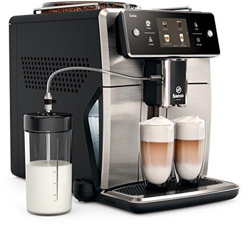 Saeco Xelsis SM7683/00 Macchina da Caffè Automatica, con Macine in Ceramica, 15 Bevande, Filtro AquaClean, Coffeee Equalizer e Display Touch, Caraffa Latte Esterna, Frontale in Acciaio Inox Philips