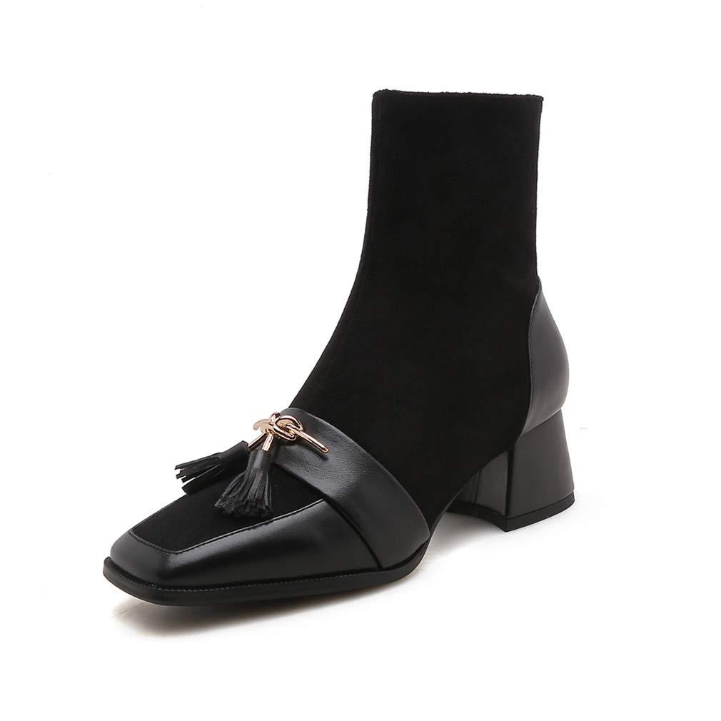 Hy Botas De Cuero Otoño Y Invierno Comodidad/Botas Botines/Señoras Personalidad Zapatos De Caminar con Estilo Grueso Talones Pies Cuadrados Botines/Botines,B,36