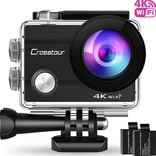 Crosstour Action Camera 4K Wifi Underwater 30M with 2 Batteries IP68...