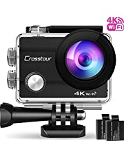 Crosstour Action Camera 4K Wifi Underwater 30M with 2 Batteries IP68 Waterproof Case