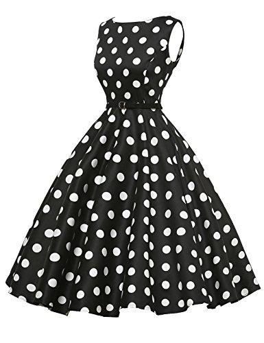 Boat Neck Retro Prom Dresses Hepburn Style Black Size L F-8