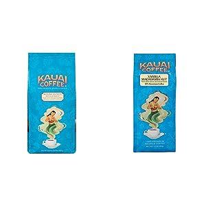 Kauai Whole Bean Coffee, Koloa Estate Medium Roast (32 Ounces) & Hawaiian Ground Coffee, Vanilla Macadamia Nut Flavor (10 oz Bag) - Bold, Rich Blend