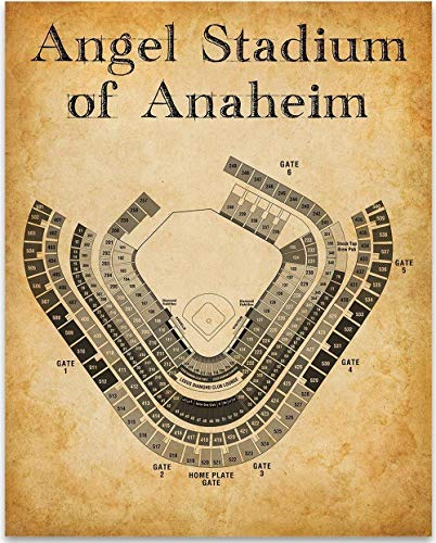 Angel Stadium of Anaheim Baseball Seating Chart - 11x14 Unframed Art Print - Great Sports Bar Decor and Gift Under $15 for Baseball Fans]()