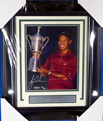 Tiger Woods Signed Auto Framed 8x10 Photo 2002 US Open Championship LE #/100 UDA Holo Stock #145345