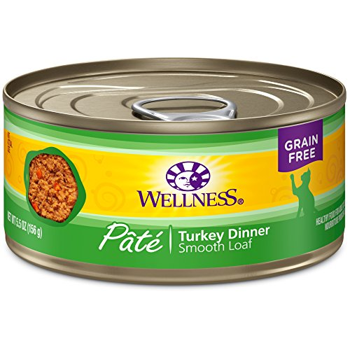 Wellness Natural Grain Free Wet Canned Cat Food, Turkey Pate, 5.5-Ounce Can (Pack of 24)