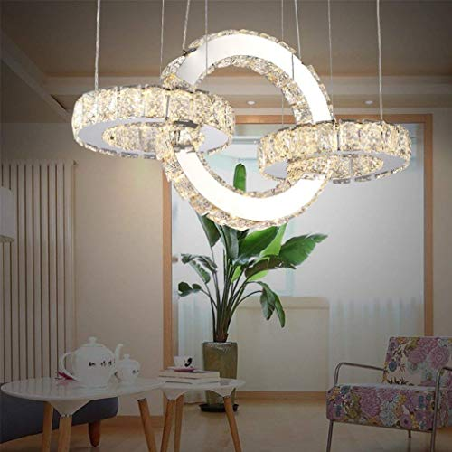 THD Modern Creative Pendant Lamp Led 86W 3 Ring K9 Crystal Stainless Steel Pendant Lamp Design Bedchamber Hanging Lamp Adjustable Height Remote Control 3000K-6500K (Stainless Steel Contemporary Bracelet)