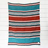 Mexican Serape Blanket| Classic Artisan Throw | Woven Falsa in Traditional Colors | Beach, Camping, Couch, Sofa, Picnic or Yoga Blanket | Rustic Green