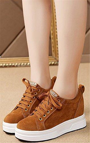 Hidden Heel Sneakers Women, Wedges Shoes Platform Pumps 2 Colors Size 5.5-7.5 Brown