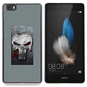 "Qstar Arte & diseño plástico duro Fundas Cover Cubre Hard Case Cover para Huawei Ascend P8 Lite (Not for Normal P8) (Gray Sancionar cráneo"")"