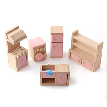 Beautiful Wooden Dolls House Furniture Set   PINK Kitchen