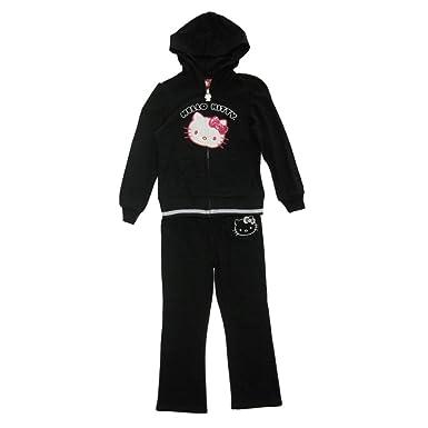 12f1a6f6c SANRIO Little Girls Black Pink Hello Kitty Detail Zipper 2 Pc Pant Set 5
