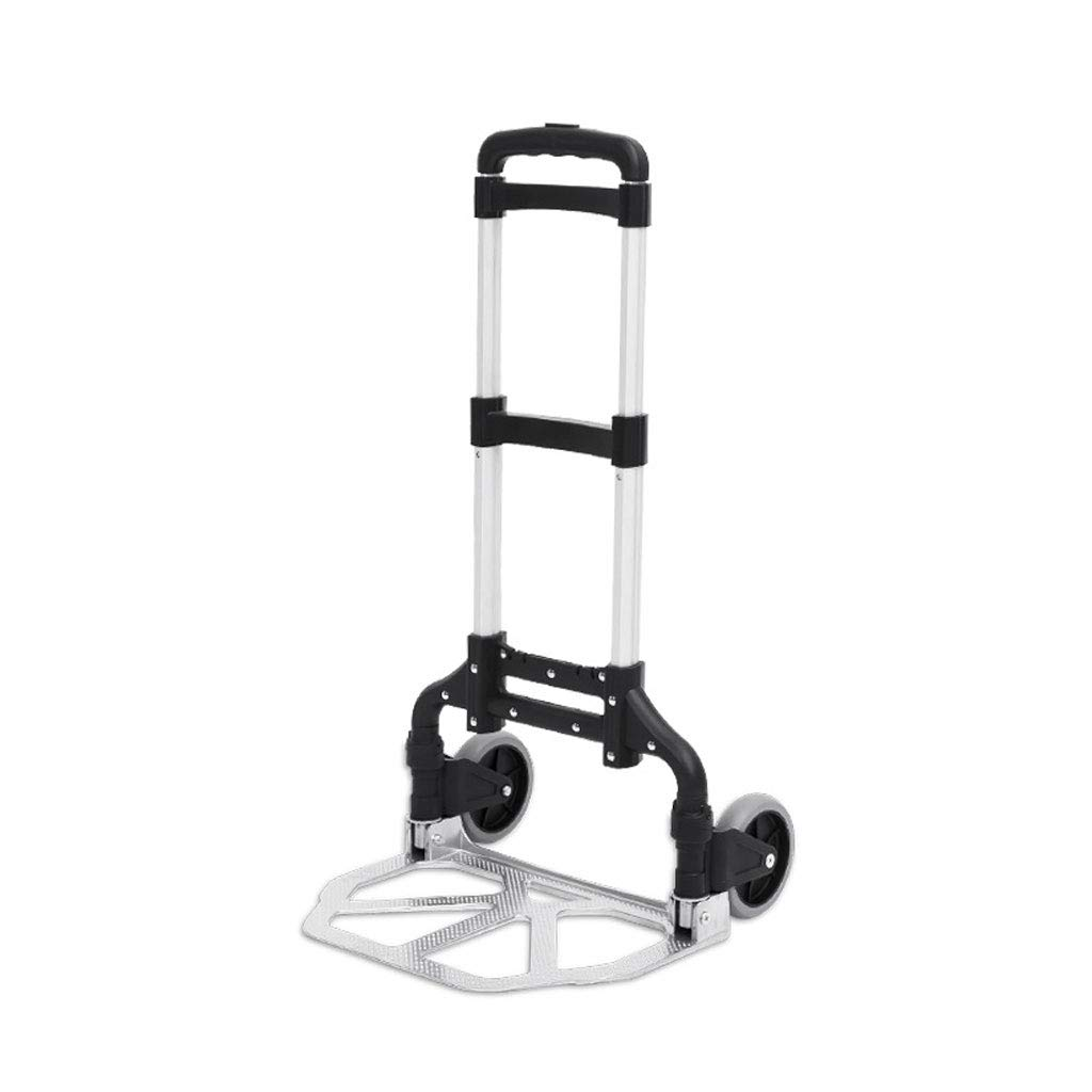Lightweight Aluminium Alloy Grocery Truck with Telescopic Stainless Steel Three-fold Handle MINYA Foldable Portable Luggage Cart Hand Trolley 2-Wheels Color : Silver