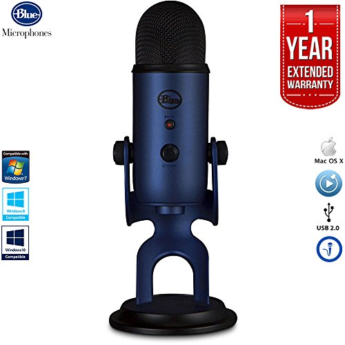 Price comparison product image Blue Microphones Yeti USB Microphone Four Pattern - Midnight Blue with 1 Year Extended Warranty