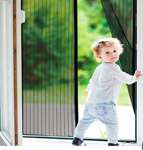 magnetic screen door with full frame velcro screen curtain handsfree for patio garage and all uses fits doors 35 inches x 82 inches keep bugs out and