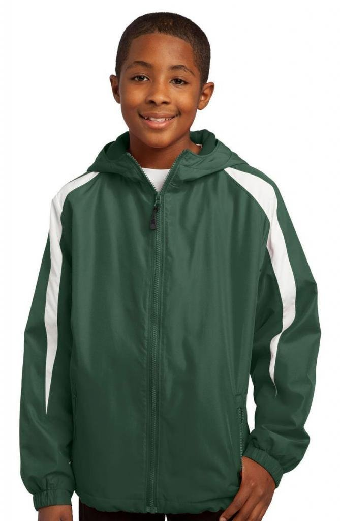 Sport-Tek Youth Fleece Lined Zipper Shell Jacket_Forest Green/White_X-Large by Sport-Tek