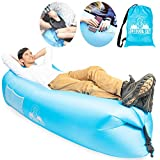 Outdoor Elf Inflatable Lounger Air Sofa Blue Self Blow-up Hammock Bag – Portable Waterproof Hangout Lazy Bag with Travel Pouch – Camping Accessory Beach Air Chair & Music Festival Couch for Outdoors