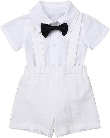 ranrann Traje de Bautizo Cumpleaños para Bebé Niño Disfraz Caballero Camisa Manga Corta Pantalones de Tirantes Pajarita Monos Bebé Recién Nacido Verano: Amazon.es: Ropa y accesorios