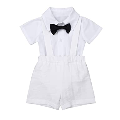 dPois Infant Baby Boys 3Pcs Baptism Outfit Short Sleeves Bow Tie White Romper Shirt with Suspender Linen Shorts