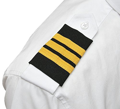 Gold Pilot - Aero Phoenix Professional Pilot Uniform Epaulets - Three Bars - First Officer - Gold Nylon on Dark Navy