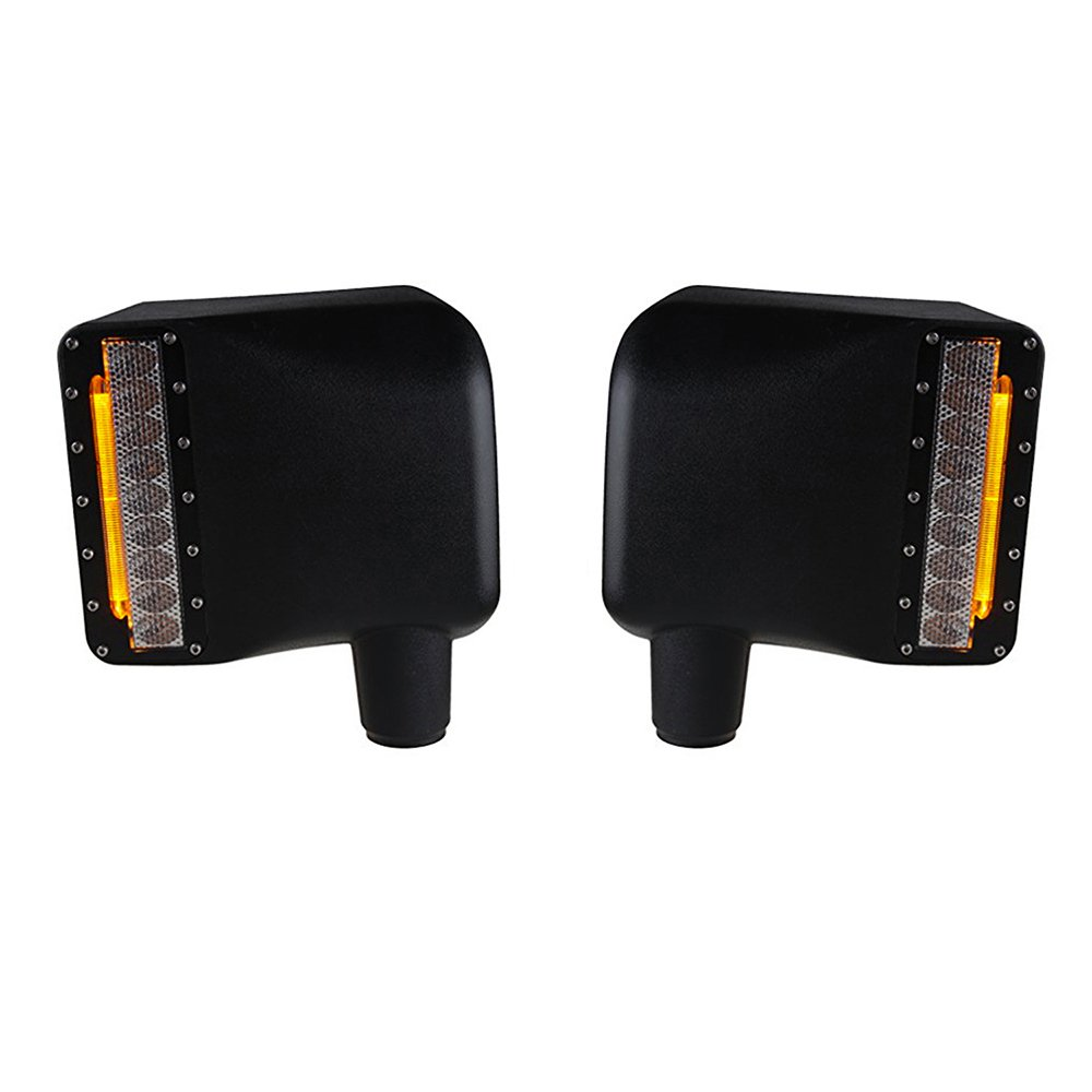 Xprite Smoke Lens White Sidelight Rearview Side Mirror Housing with Yellow Turn Signal Lights For Jeep Wrangler JK JKU 2007-2018