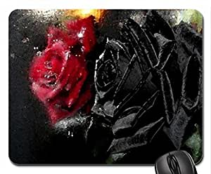 Black and red Mouse Pad, Mousepad (Flowers Mouse Pad, Watercolor style)