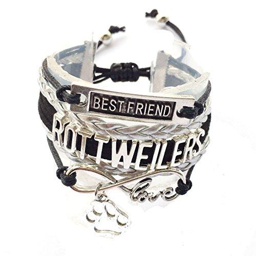 DOLON Braided Rottweiler Bracelet Best Friend Dog Paw Charm-Black with Silver (Jewelry Rottweiler)