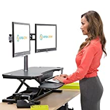 """Black 36"""" VersaDesk Sit To Stand Electric Standing Desk Converter - Convert Any Desk To an Ergonomic Standing Workstation"""